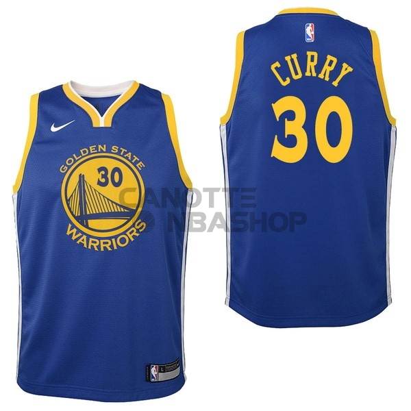 Vendite Maglia NBA Bambino Golden State Warriors NO.30 Stephen Curry Blu Icon 2017-18