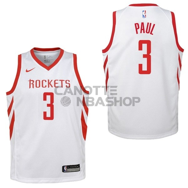 Vendite Maglia NBA Bambino Houston Rockets NO.3 Chris Paul Bianco Association 2017-18