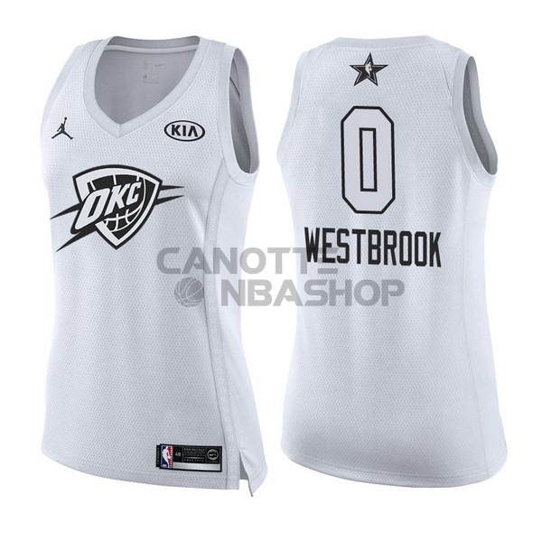 Vendite Maglia NBA Donna 2018 All Star NO.0 Russell Westbrook Bianco