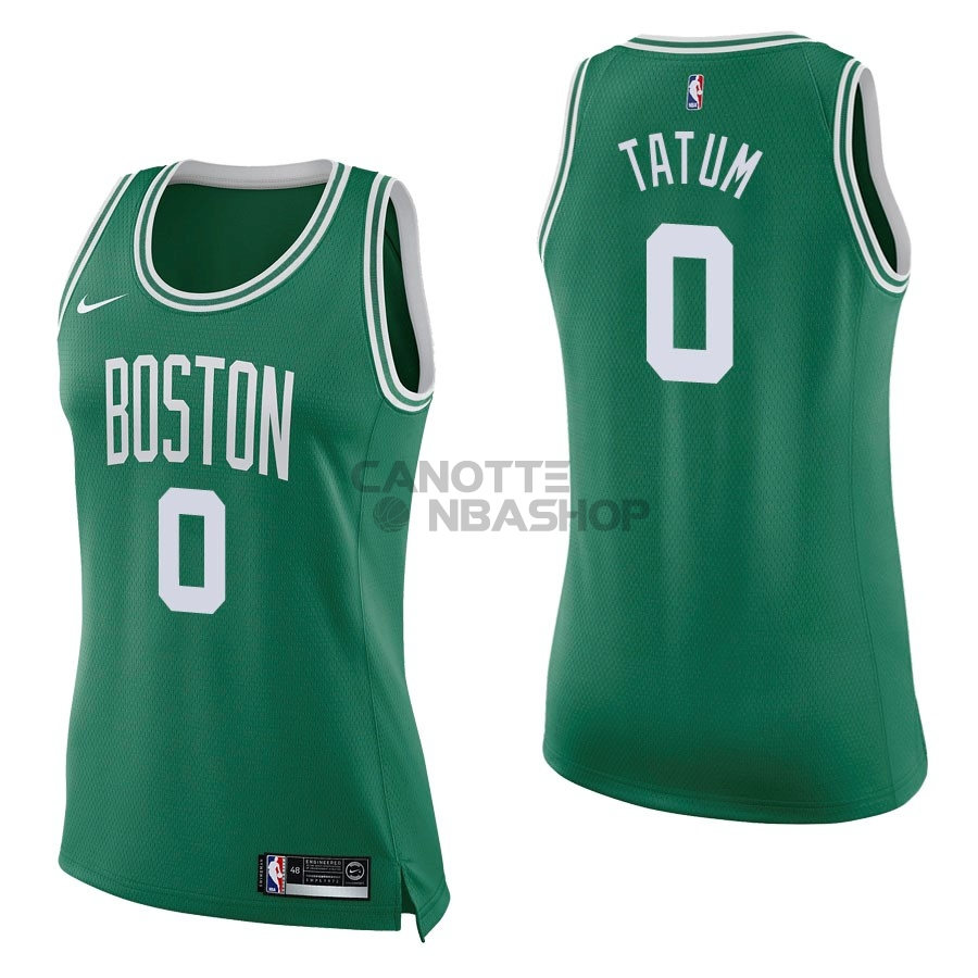 Vendite Maglia NBA Donna Boston Celtics NO.0 Jayson Tatum Verde Icon
