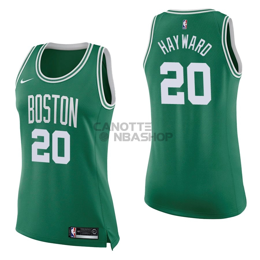 Vendite Maglia NBA Donna Boston Celtics NO.20 Gordon Hayward Verde Icon