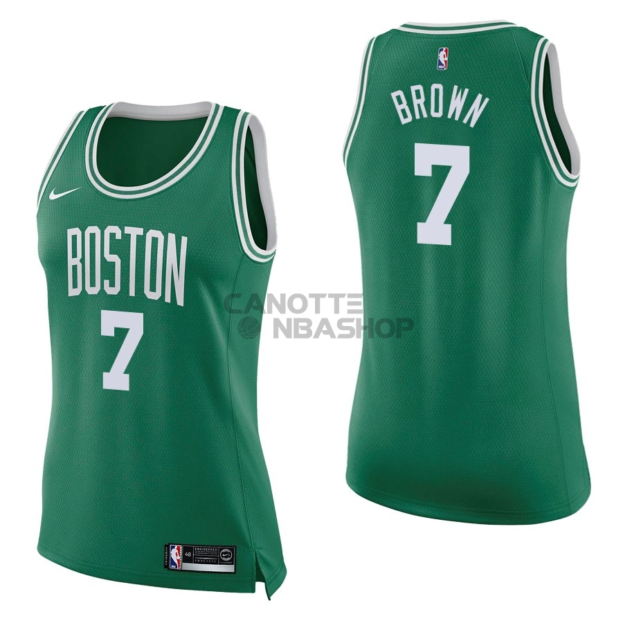 Vendite Maglia NBA Donna Boston Celtics NO.7 Jaylen Brown Verde Icon