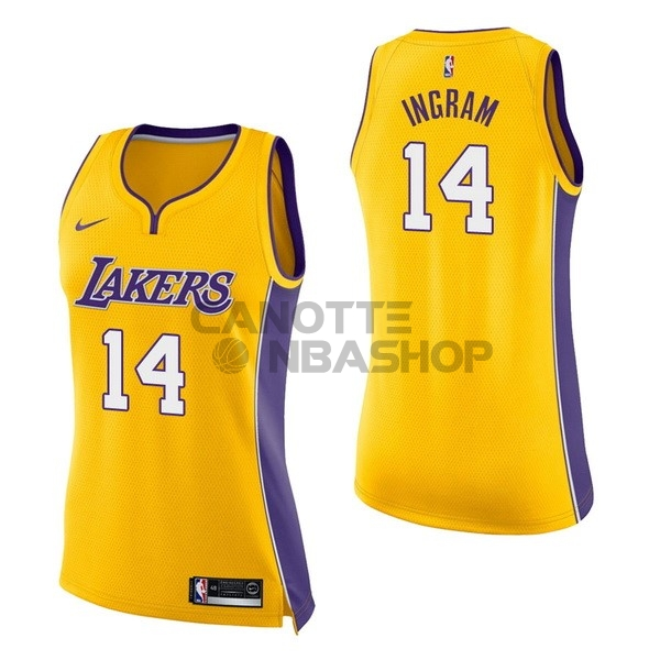 Vendite Maglia NBA Donna Los Angeles Lakers NO.14 Brandon Ingram Giallo Icon
