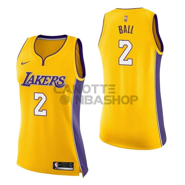 Vendite Maglia NBA Donna Los Angeles Lakers NO.2 Lonzo Ball Giallo Icon