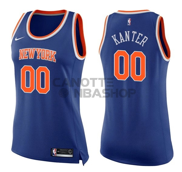 Vendite Maglia NBA Donna New York Knicks NO.0 Enes Kanter Blu Icon