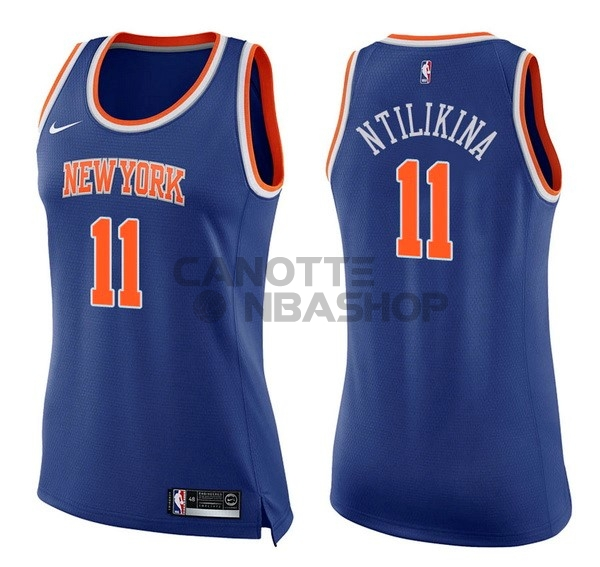 Vendite Maglia NBA Donna New York Knicks NO.11 Frank Ntilikina Blu Icon