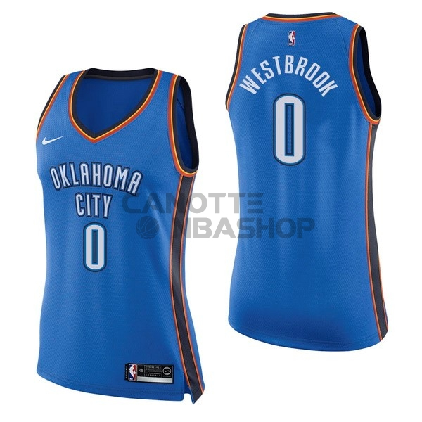 Vendite Maglia NBA Donna Oklahoma City Thunder NO.0 Russell Westbrook Blu Icon