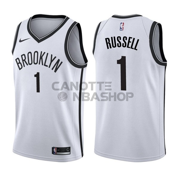 Vendite Maglia NBA Nike Brooklyn Nets NO.1 D'Angelo Russell Bianco Association