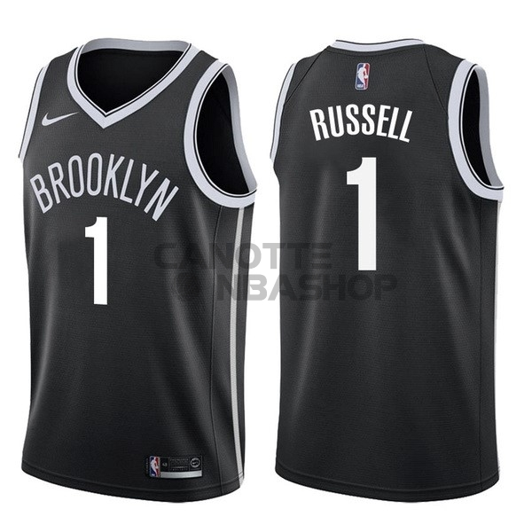 Vendite Maglia NBA Nike Brooklyn Nets NO.1 D'Angelo Russell Nero Icon