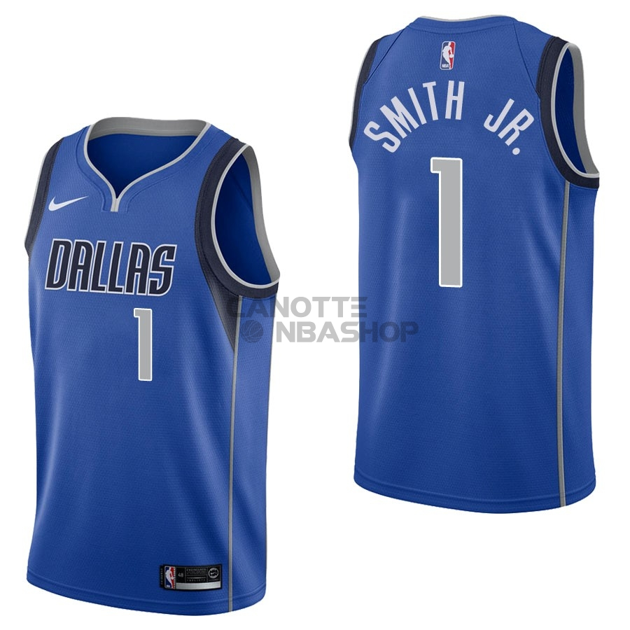 Vendite Maglia NBA Nike Dallas Mavericks NO.1 Dennis Smith Jr Blu Icon