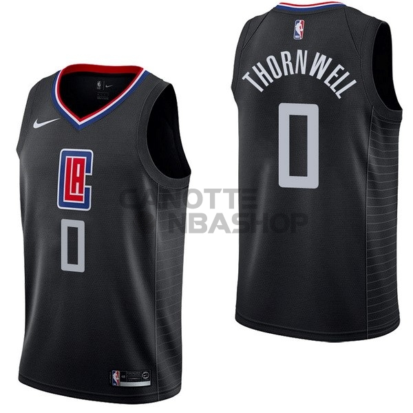 Vendite Maglia NBA Nike Los Angeles Clippers NO.0 Sindarius Thornwell Nero Statement