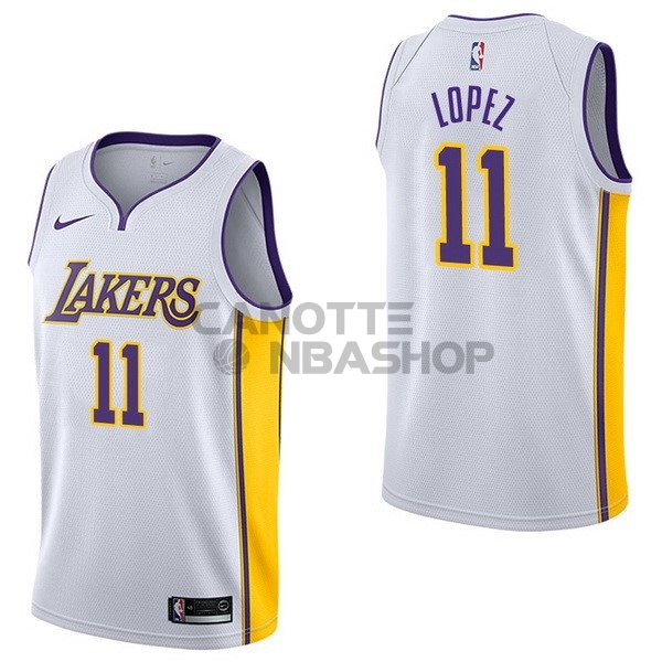 Vendite Maglia NBA Nike Los Angeles Lakers NO.11 Brook Lopez Bianco Association