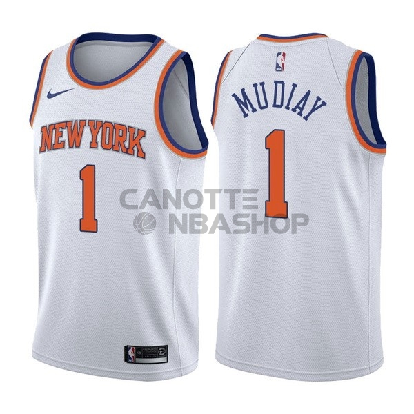 Vendite Maglia NBA Nike New York Knicks NO.1 Emmanuel Mudiay Bianco Association