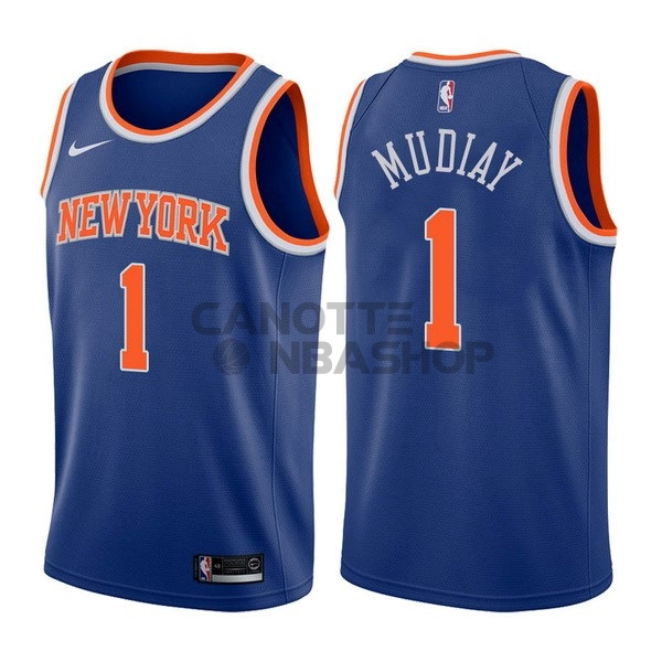 Vendite Maglia NBA Nike New York Knicks NO.1 Emmanuel Mudiay Blu Icon