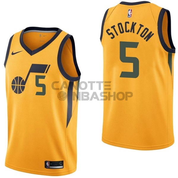 Vendite Maglia NBA Nike Utah Jazz NO.5 David Stockton Giallo Statement
