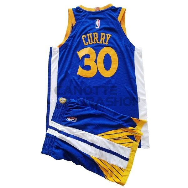 Vendite Maglia NBA Set Completo Bambino Golden State Warriors NO.30 Stephen Curry Blu 2017-18