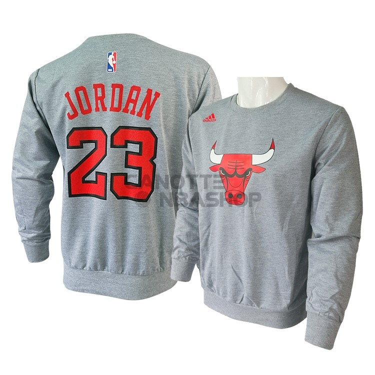 198b8e46be6444 Vendite T-Shirt Chicago Bulls Maniche Lunghe NO.23 Michael Jordan Grigio