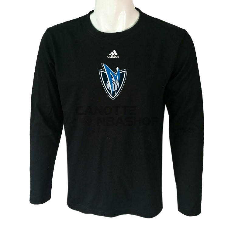 Vendite T-Shirt Dallas Mavericks Maniche Lunghe Nero 2017