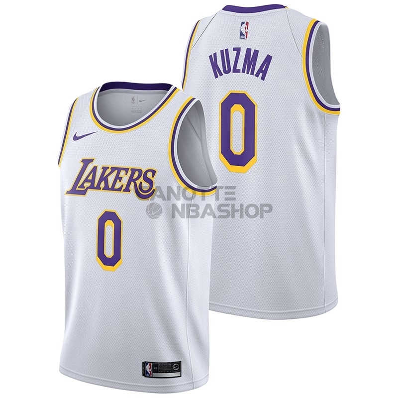 Vendite Maglia NBA Nike Los Angeles Lakers NO.0 Kyle Kuzma Bianco Association 2018-19