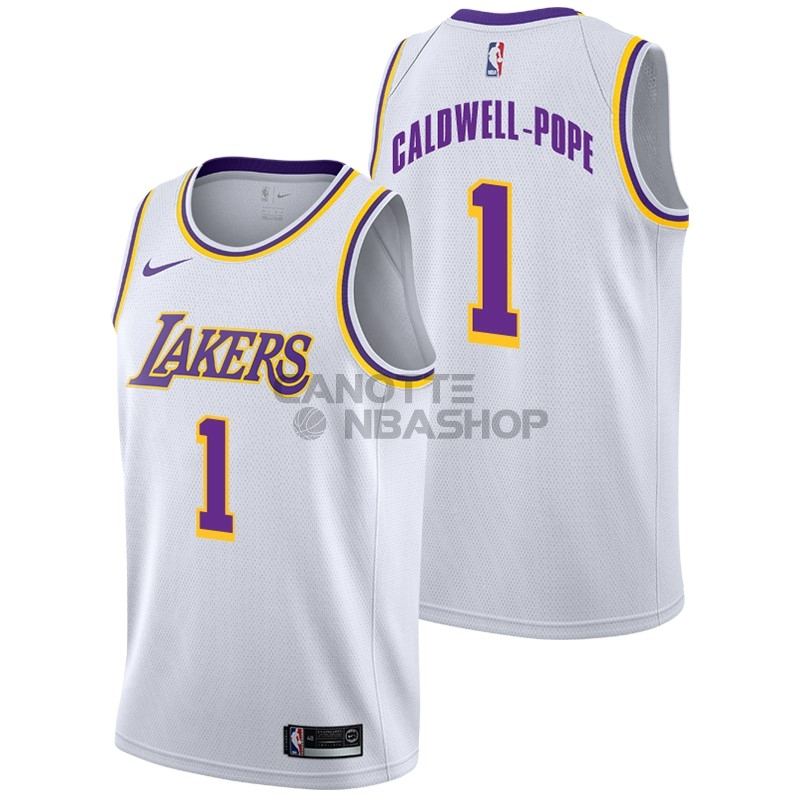 Vendite Maglia NBA Nike Los Angeles Lakers NO.1 Kentavious Caldwell Pope Bianco Association 2018-19