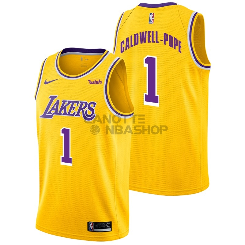 Vendite Maglia NBA Nike Los Angeles Lakers NO.1 Kentavious Caldwell Pope Giallo 2018-19