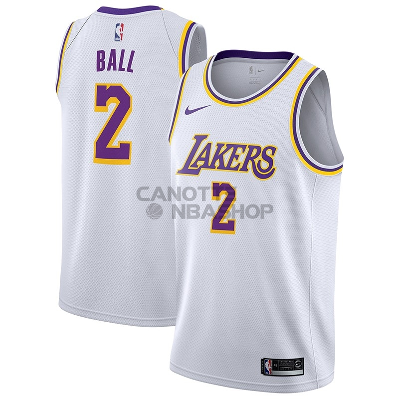 Vendite Maglia NBA Nike Los Angeles Lakers NO.2 Lonzo Ball Bianco Association 2018-19