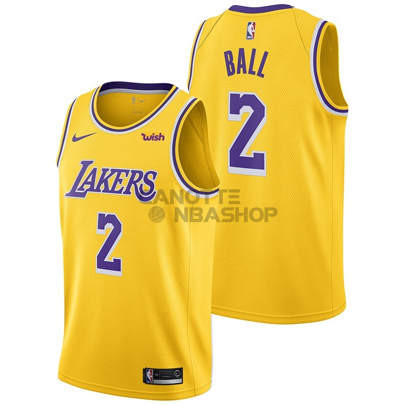 Vendite Maglia NBA Nike Los Angeles Lakers NO.2 Lonzo Ball Giallo 2018-19