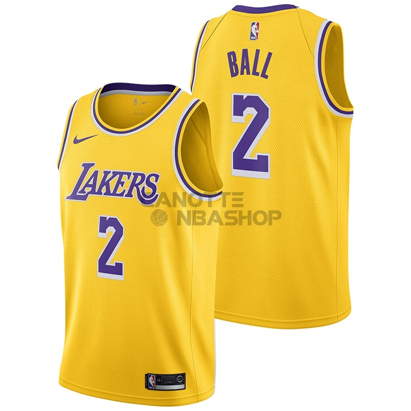 Vendite Maglia NBA Nike Los Angeles Lakers NO.2 Lonzo Ball Giallo Icon 2018-19