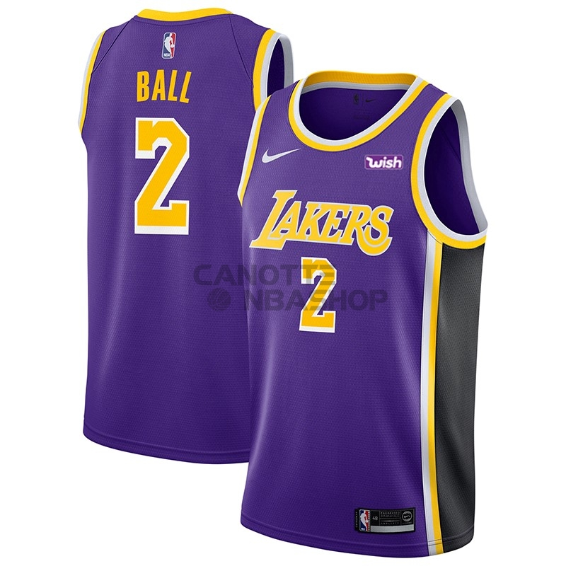 Vendite Maglia NBA Nike Los Angeles Lakers NO.2 Lonzo Ball Porpora 2018-19