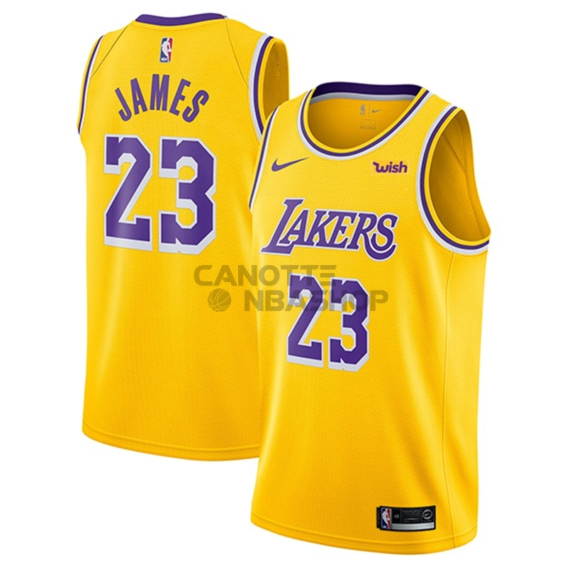 Vendite Maglia NBA Nike Los Angeles Lakers NO.23 Lebron James Giallo 2018-19