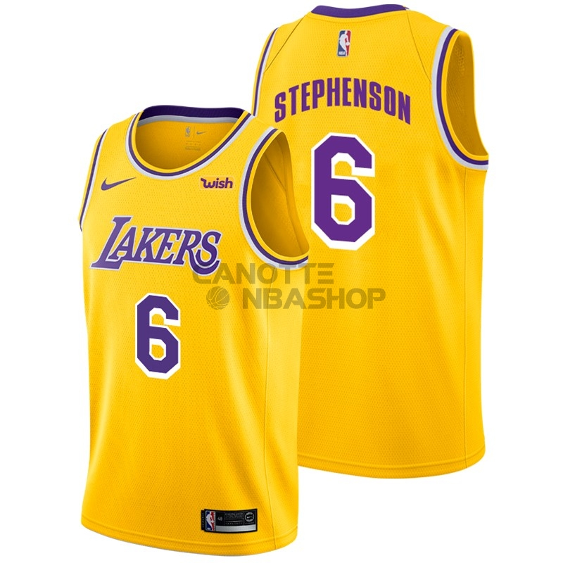 Vendite Maglia NBA Nike Los Angeles Lakers NO.6 Lance Stephenson Giallo 2018-19