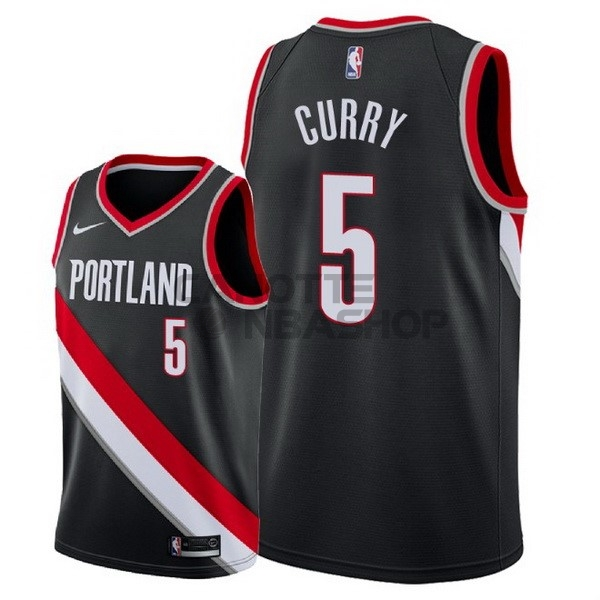 Vendite Maglia NBA Nike Portland Trail Blazers NO.5 Seth Curry Nero Icon 2018