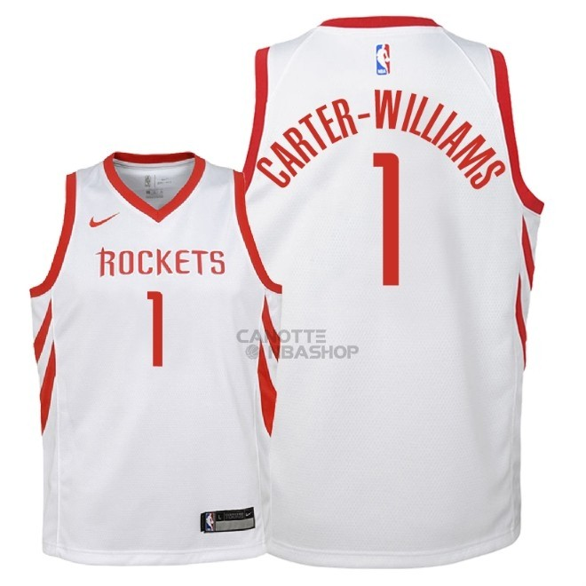 Vendite Maglia NBA Bambino Houston Rockets NO.1 Michael Carter Williams Bianco Association 2018