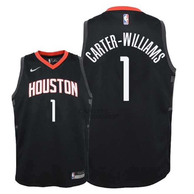 Vendite Maglia NBA Bambino Houston Rockets NO.1 Michael Carter Williams Nero Statement 2018
