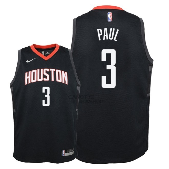 Vendite Maglia NBA Bambino Houston Rockets NO.3 Chris Paul Nero Statement 2018-19