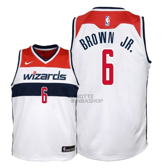 Vendite Maglia NBA Bambino Washington Wizards NO.6 Troy Brown Jr Bianco Association 2018