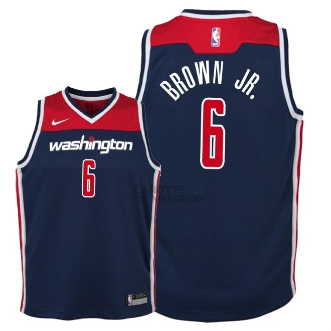 Vendite Maglia NBA Bambino Washington Wizards NO.6 Troy Brown Jr Marino Statement 2018