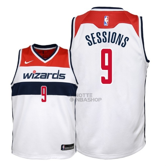 Vendite Maglia NBA Bambino Washington Wizards NO.9 Ramon Sessions Bianco Association 2018