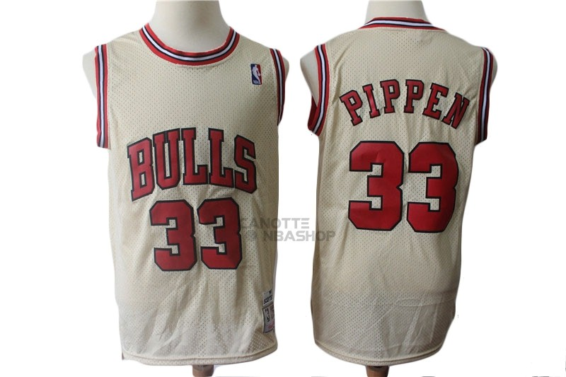 Vendite Maglia NBA Chicago Bulls NO.33 Scottie Pippen Retro Crema