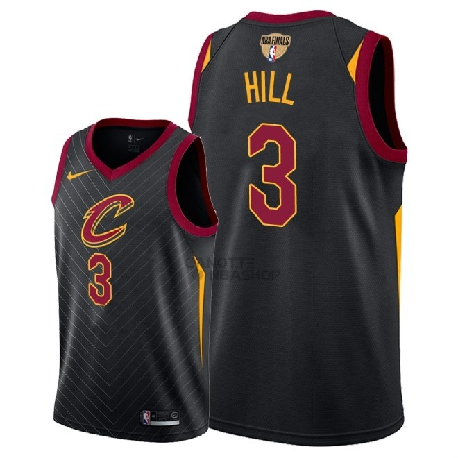 Vendite Maglia NBA Cleveland Cavaliers 2018 Campionato Finali NO.3 George Hill Nero Statement Patch