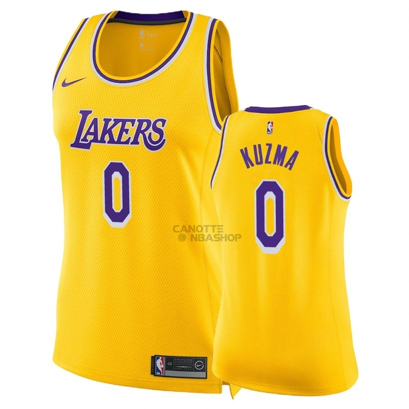 Vendite Maglia NBA Donna Los Angeles Lakers NO.0 Kyle Kuzma Giallo Icon 2018-19