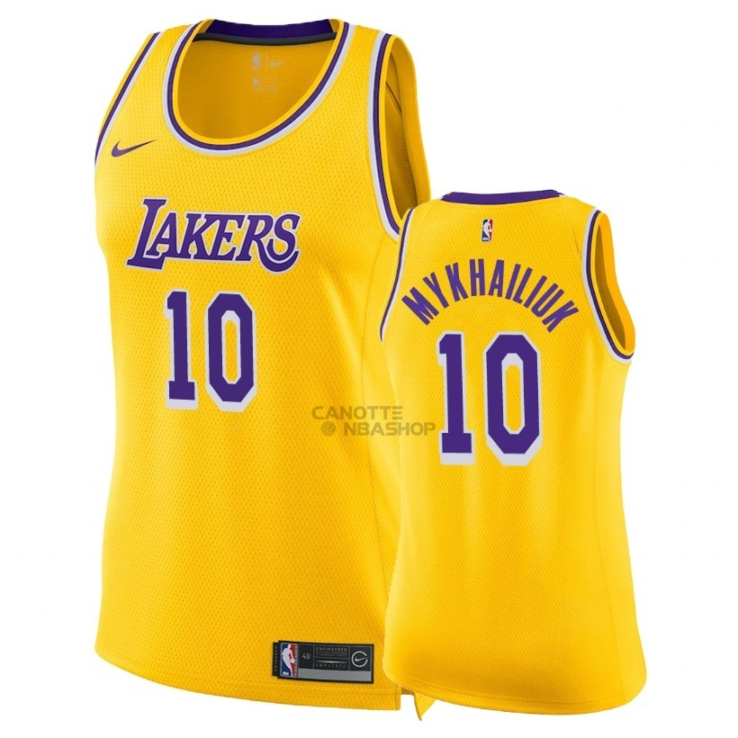 Vendite Maglia NBA Donna Los Angeles Lakers NO.10 Sviatoslav Mykhailiuk Giallo Icon 2018-19