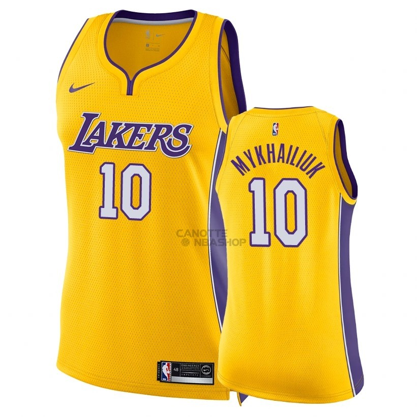 Vendite Maglia NBA Donna Los Angeles Lakers NO.10 Sviatoslav Mykhailiuk Giallo Icon 2018