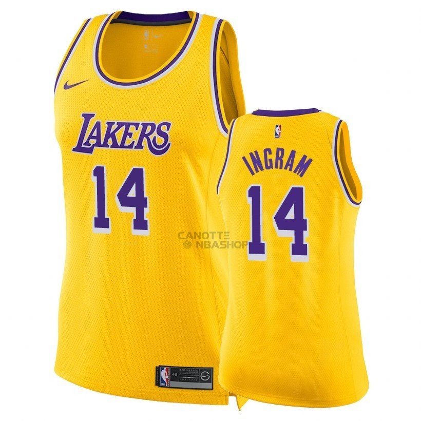 Vendite Maglia NBA Donna Los Angeles Lakers NO.14 Brandon Ingram Giallo Icon 2018-19