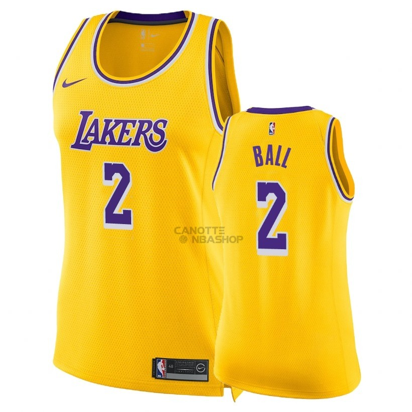 Vendite Maglia NBA Donna Los Angeles Lakers NO.2 Lonzo Ball Giallo Icon 2018-19
