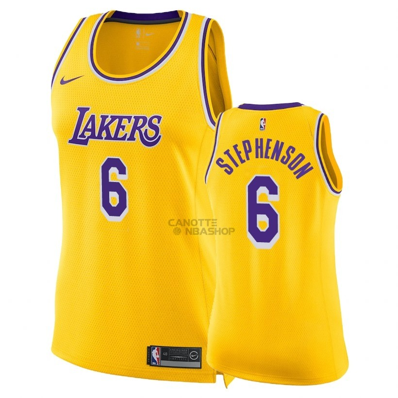 Vendite Maglia NBA Donna Los Angeles Lakers NO.6 Lance Stephenson Giallo Icon 2018-19