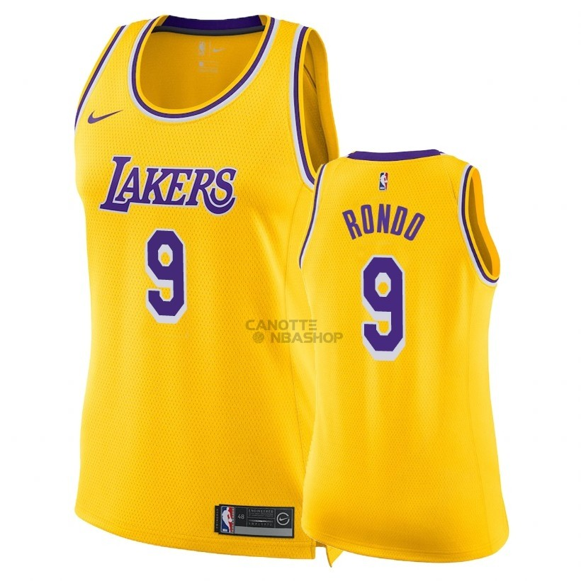 Vendite Maglia NBA Donna Los Angeles Lakers NO.9 Rajon Rondo Giallo Icon 2018-19