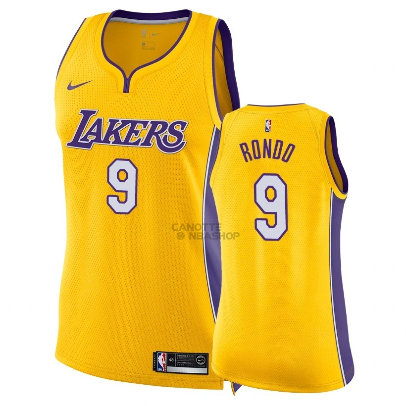 Vendite Maglia NBA Donna Los Angeles Lakers NO.9 Rajon Rondo Giallo Icon 2018