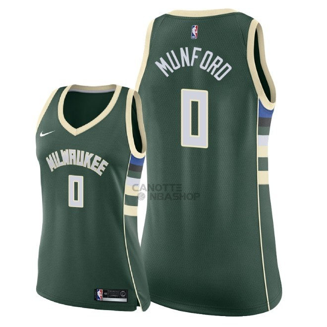Vendite Maglia NBA Donna Milwaukee Bucks NO.0 Xavier Munford Verde Icon 2018