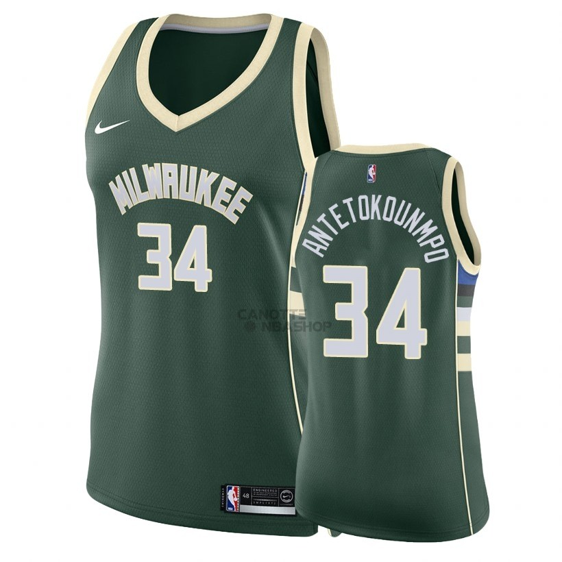 Vendite Maglia NBA Donna Milwaukee Bucks NO.34 Giannis Antetokounmpo Verde Icon 2018